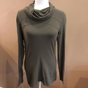 Athleta Olive Green Fitted Cowl Neck Long Sleeve Tee, Size M